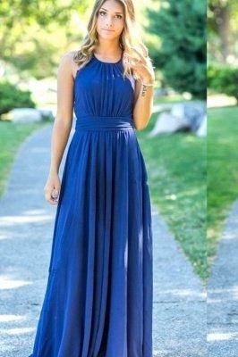 Ocean Blue Halter Chiffon Bridesmaid Dresses | A-line Open Back Floor-length Bridesmaid Dresses_4
