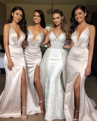 Sexy Split Spaghetti Straps Bridesmaid Dress Cheap | Sheath Sleeveless V-neck Maid of Honor Dress