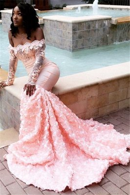 Beautiful Off-the-Shoulder Long Sleeves Appliques Mermaid Sweep Train Prom Dresses