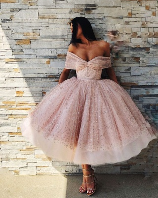 Stylish Off-the-Shoulder Ball Gown Tulle Tea-Length Prom Dresses_5