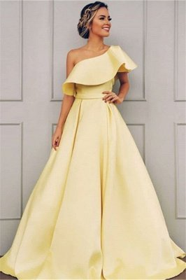 Elegant One Shoulder A-Line Sweep Train Prom Dresses BC0958