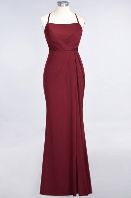 Mermaid spandex Lace Spaghetti-Straps Sleeveless Floor-Length Bridesmaid Dress with Ruffle