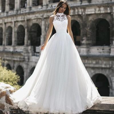 Elegant High Neck Sleeveless Appliques A-Line Floor-Length Wedding Dresses_3