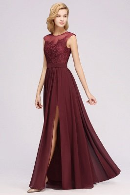 A-ligne en mousseline de soie dentelle bijou manches rez-de-longueur robes de demoiselle d'honneur avec des appliques_5