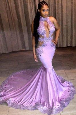 Belles paillettes licol sans manches appliques dentelle robes de bal sirène_1