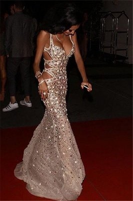 Stylish Spaghetti Straps Rhinestones Sleeveless Front Split Sheath Floor-Length Prom Dresses_3
