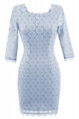Gray Half Sleeve Round Neck Lace Dress_2