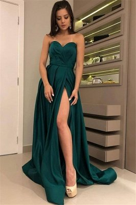 Chic Strapless Front Split Sleeveless Floor-Length A-Line Prom Dresses_1