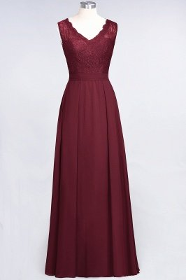 A-Line Chiffon Lace V-Neck Sleeveless Floor-Length Bridesmaid Dress