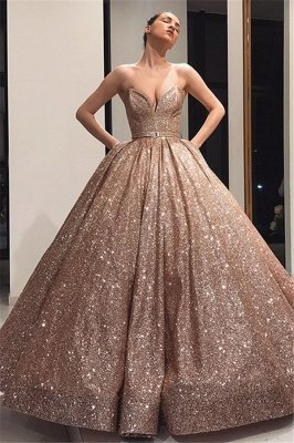 Charming Strapless Sleeveless Ball Gown Sweep Train Prom Dresses_1
