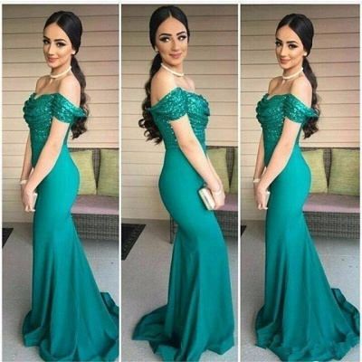 Off-The-Shoulder Sequins Long Mermaid Short Sleeves Prom Dress_5