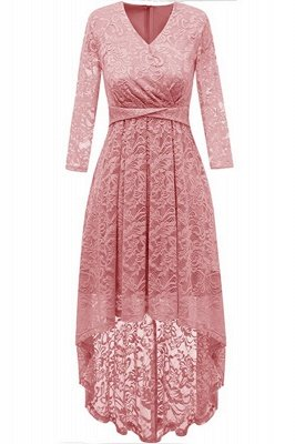 Pink High Low Dress Princess Date Dress Half Sleeve Elegant V-neck Lace Dress