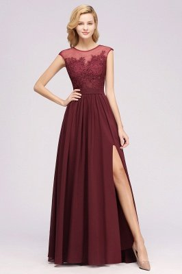 A-ligne en mousseline de soie dentelle bijou manches rez-de-longueur robes de demoiselle d'honneur avec des appliques_1
