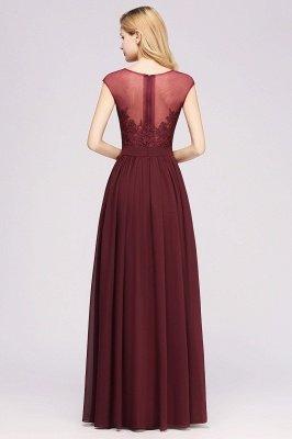 A-ligne en mousseline de soie dentelle bijou manches rez-de-longueur robes de demoiselle d'honneur avec des appliques_2