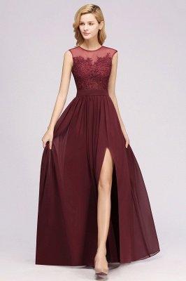 A-ligne en mousseline de soie dentelle bijou manches rez-de-longueur robes de demoiselle d'honneur avec des appliques_3