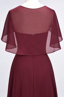 Chiffon Satin A-Line V-Neck short-sleeves Long Bridesmaid Dress_8