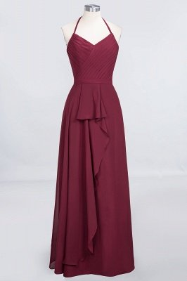A-Line Chiffon Halter V-Neck Sleeveless Floor-Length Bridesmaid Dress with Ruffle
