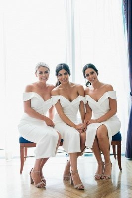 Off The Shoulder Sexy Bridesmaid Dresses | Front Split White Maid of Honor Dress_2