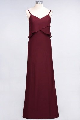 A-Line Chiffon Spaghetti-Straps V-Neck Sleeveless Floor-Length Bridesmaid Dress