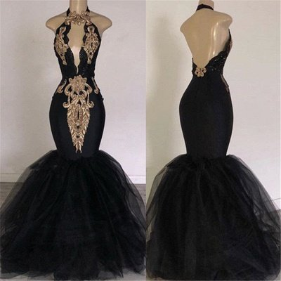 Sexy Backless Prom Dresses with Gold Appliques | Mermaid Halter Evening Gowns with Keyhole_3