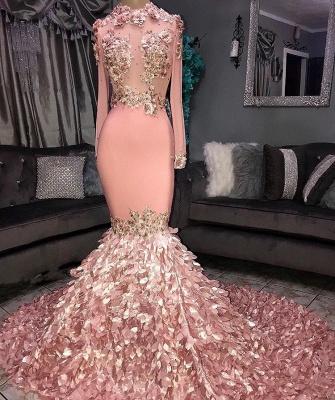 Superbe col rond fleur manches longues paillettes robes de bal sirène_2