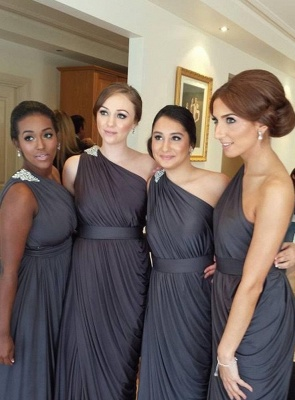 Chiffon One Shoulder Affordable Long Bridesmaid Dresses Simple Ruffle Stunning Plus Size Wedding Dress Under 100_4