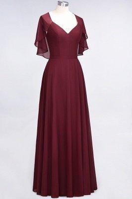 Chiffon Satin A-Line V-Neck short-sleeves Long Bridesmaid Dress_6