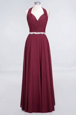 A-Line Chiffon Halter V-Neck Sleeveless Ruffle Floor-Length Bridesmaid Dress with Appliques Sashes