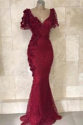 Glamorous V-Neck Short Sleeves Beading Flower Mermaid Floor-Length Prom Dresses