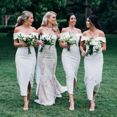 Off The Shoulder Sexy Bridesmaid Dresses | Front Split White Maid of Honor Dress_4