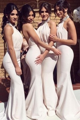 Elegant Halter Mermaid Bridesmaid Dresses | Sexy Ruched Long Wedding Party Dresses