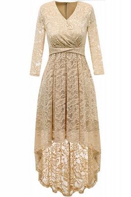 Pink High Low Dress Princess Date Dress Half Sleeve Elegant V-neck Lace Dress_3