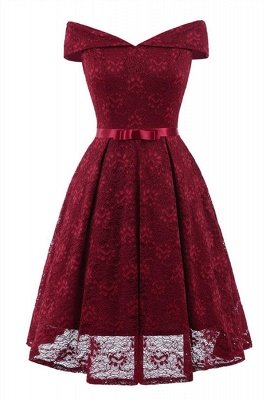 Retro Lace Off-the-shoudler Dress Elegant Cocktail Party Cap Sleeve A Line Vintage Dress