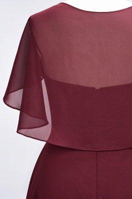 Chiffon Satin A-Line V-Neck short-sleeves Long Bridesmaid Dress_9