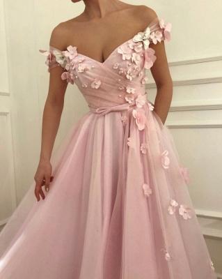 الوردي الزهور ألف خط تول طويل رخيصة فستان حفلة موسيقية | أثواب السهرة الأنيقة خارج على الكتف_3