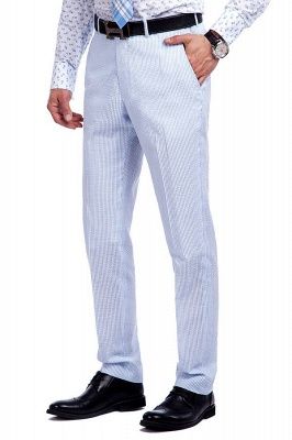 Blue Stripes Single Breasted Wedding Groom Tuxedos | Peaked Lapel Two Buttons Tailor Made Causal Suit for Men_8