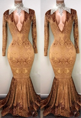 Gold-V-neck Mermaid Prom Dress, Lace Evening Gowns On Sale_2