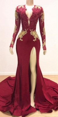 Deep V-neck Long Sleeves Lace Appliques Split Mermaid Evening Gowns_4