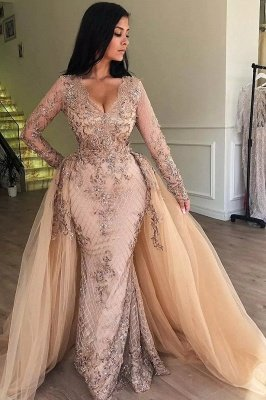 Mermaid V-neck Long Sleeves Appliqued Prom Dresses with Detachable Skirt_1