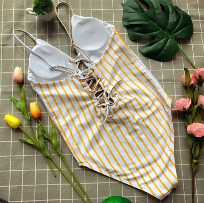 Elegent One piece Bandage Swimsuits with Stripe_6