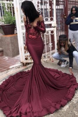 Sexy Borgonha Lantejoulas Sereia Vestidos de Baile | mangas vestidos de noite à venda_3