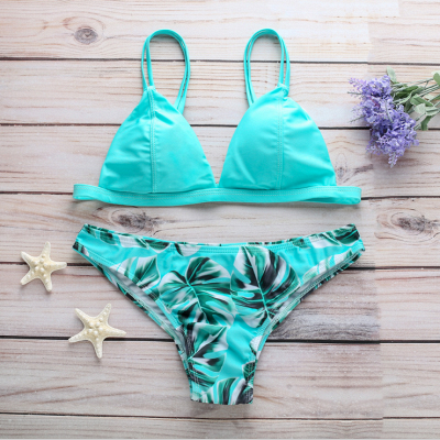 Women Triangle Floral Print Bikini Set_8
