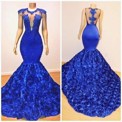 2021 Königsblau Blumen Meerjungfrau Lange Abendkleider | Glamourös ärmellos mit Spitze Appliques Prom Dresses_4