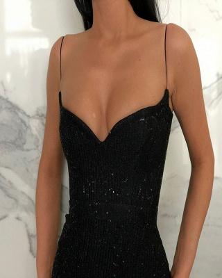 Black Sheath Spaghetti Straps Open Back Sequins Prom Dresses_3