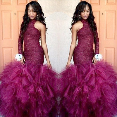 High-Neck One-Sleeve Sheath Lace Puffy Tulle Specail Latest Prom Dress_2