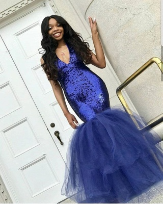Sexy Navy Blue Mermaid Sequins Prom Dresses | Tulle Sleeveless V-Neck Evening Dresses_3