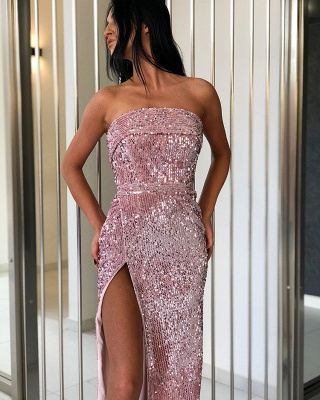 Gorgeous Sheath Strapless Sequins Prom Dresses_2