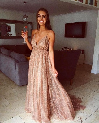 Glamorous Sequins A-Line Long Prom Gowns   2019 Spaghetti Straps V-Neck Evening Dress_2