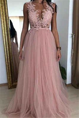 Elegant Pink A-line Sleeveless Tulle Applique Prom Dresses_1