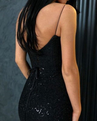 Black Sheath Spaghetti Straps Open Back Sequins Prom Dresses_4
